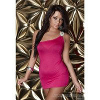 SEXY ONE-SHOULDER MINIDRESS WITH RHINESTONES FUCHSIA