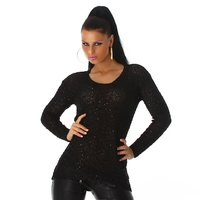 ELEGANT KNITTED SWEATER WITH CHIFFON AND SEQUINS BLACK