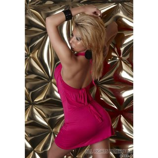 Sexy halterneck mini dress fuchsia