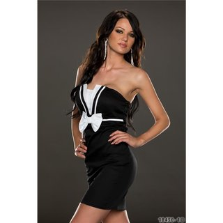 Elegant strapless shift evening dress black / white
