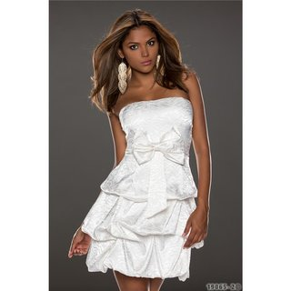 Noble strapless satin balloon dress bandeau dress white