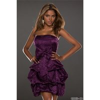 Noble strapless satin balloon dress bandeau dress purple...