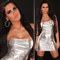 Sexy bandeau mini dress metallic look silver Onesize (UK...