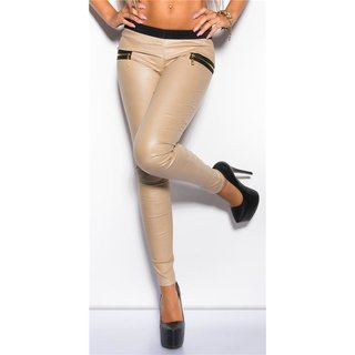 SEXY TREGGINGS PANTS IN LEATHER-LOOK WITH ZIPS BEIGE