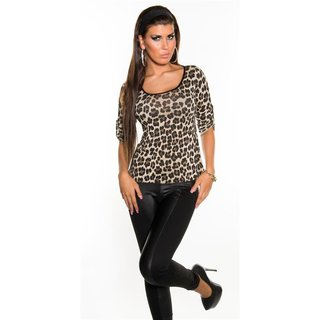 Sexy shirt with lace at the back leopard look leo-beige
