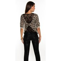 Sexy shirt with lace at the back leopard look leo-beige...