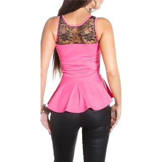 SEXY STRAPPY TOP WITH LACE AND PEPLUM FUCHSIA