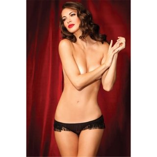SEXY SHOWGIRL PANTY SHORTY WITH FRINGES LINGERIE BLACK