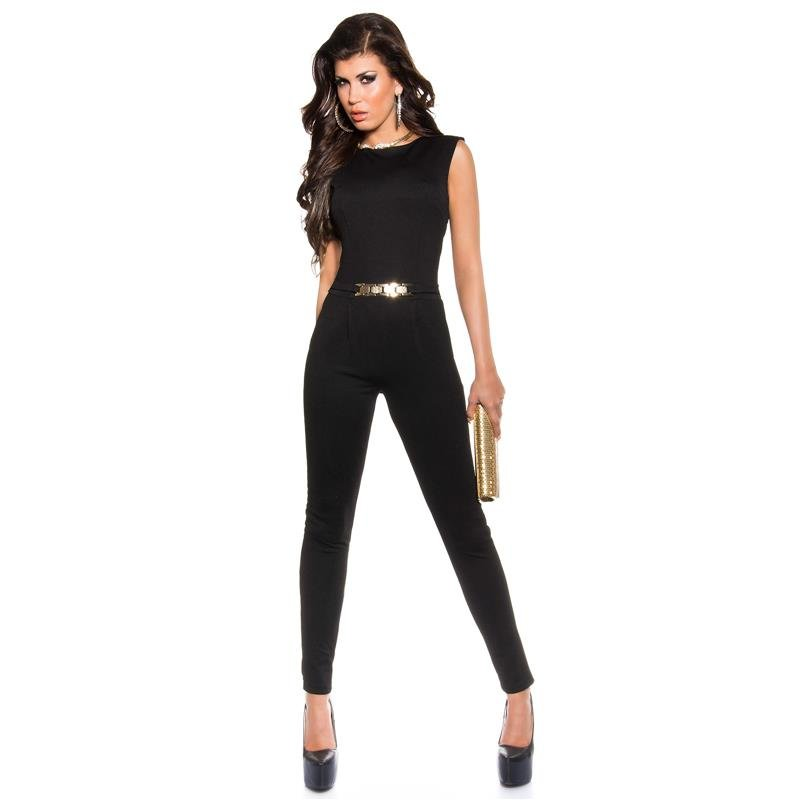 f386efdae380 ELEGANT SLEEVELESS OVERALL WITH GOLD-COLOURED BUCKLE
