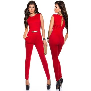 Elegant sleeveless overall jumpsuit with gold-coloured buckle red UK 10/12 (S)