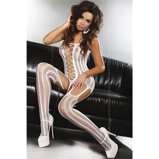 SEXY NETZ-BODYSTOCKING CATSUIT DESSOUS GOGO WEISS