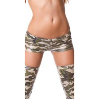 Sexy hot pants with zipper army look gogo clubwear olive...