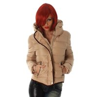 EXCLUSIVE WARM AND WADDED WINTER JACKET WITH HOOD BEIGE