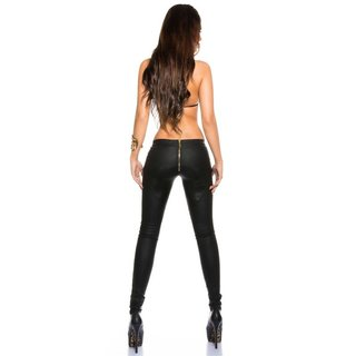 Sexy skinny treggings pants in leather look with zipper black