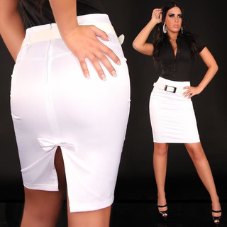 Sexy satin pencil skirt with belt white