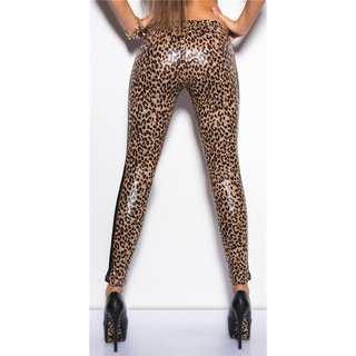 SEXY WET LOOK LEGGINGS WITH MESH GOGO CLUBWEAR LEO-BROWN