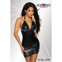 SEXY CLUB-KLEID MINIKLEID PAILLETTEN WETLOOK SCHWARZ...