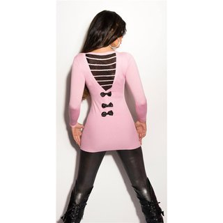 Precious fine-knitted long sweater with chiffon and rhinestones pink Onesize (UK 8,10,12)