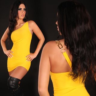 Sexy one-shoulder mini dress yellow