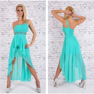 Noble one-shoulder evening dress with chiffon veil green