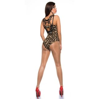 Sexy bodyshirt with crotched lace and rhinestones leopard