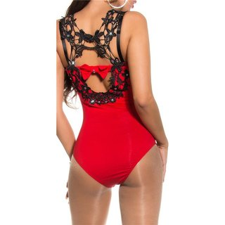 Sexy bodyshirt with crotched lace and rhinestones red UK 12 (L)
