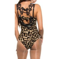 Sexy bodyshirt with crotched lace and rhinestones leopard...