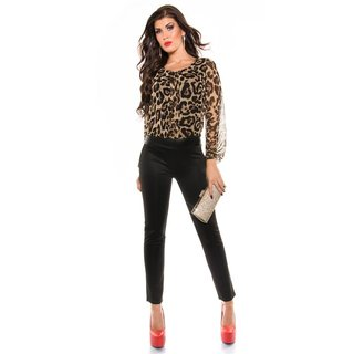 Elegant long-sleeved overall jumpsuit with chiffon leopard/black