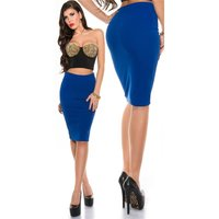 ELEGANT PENCIL STRETCH SKIRT ROYAL BLUE UK 8/10 (S)