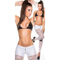 SEXY GLANZ SPITZENLEGGINGS MIT ZIPPER WETLOOK CLUBWEAR WEISS