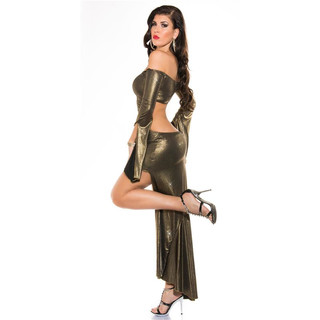 Sexy Party Cocktail-Kleid mit Glitzer-Effekt Clubwear Gold