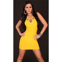 SEXY MINIDRESS PARTY DRESS WITH SEQUINS YELLOW Onesize...