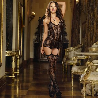 Sexy Dreamgirl fishnet mini dress with sewed on stockings black