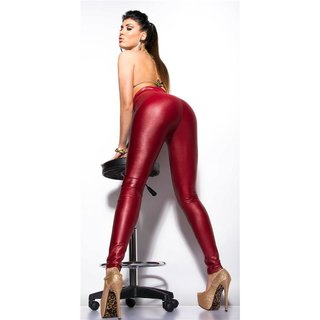 Sexy Glanz Leggings Wetlook mit hohem Taillenbund Bordeaux