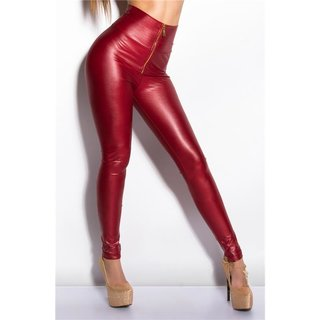 Sexy glossy wet look high-waisted leggings with zipper wine-red