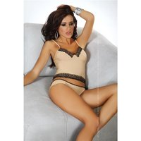 SWEET 2 PCS CAMI-SET TOP AND PANTY WITH LACE NUDE/BLACK...