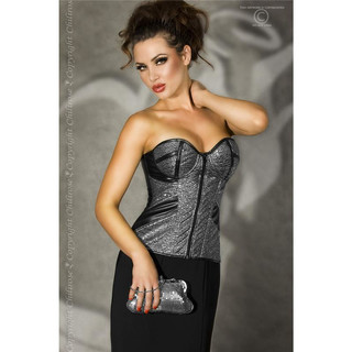 Exclusive corsage made of soft imitation leather clubwear silver/black