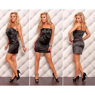 Precious satin evening dress shift dress black