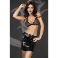 SEXY 3 PCS GOGO SET MINISKIRT TOP AND THONG WET LOOK BLACK