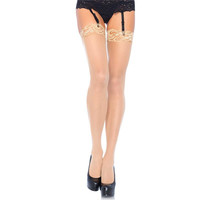 SEXY LEG AVENUE SHEER THIGH-HIGH STOCKINGS WITH LACE TOP...