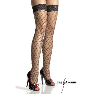 SEXY LEG AVENUE THIGH-HIGH FENCE FISHNET STOCKINGS WITH LACE TOP BLACK