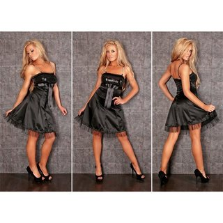 PRECIOUS SATIN EVENING DRESS WITH RHINESTONES SEQUINS BLACK