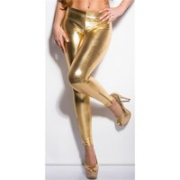 SEXY GLANZ LEGGINGS MIT ZIPPER AM BEIN WETLOOK CLUBWEAR GOLD