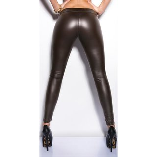 Sexy clubstyle wet look leggings with zipper brown