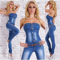 Sexy Blue Washed Bandeau Jeans Overall mit Gürtel...