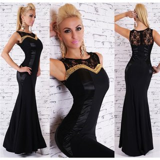 Noble floor-length evening dress gown with ornaments black