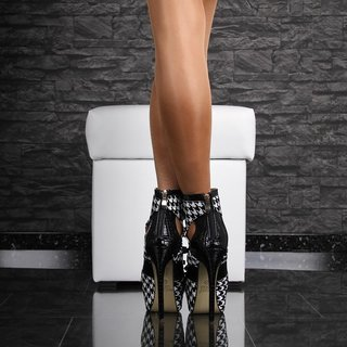 Sexy artificial patent leather platform ankle boots high heels black/white