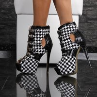 SEXY ARTIFICIAL PATENT LEATHER PLATFORM ANKLE BOOTS HIGH...