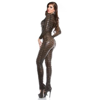 Sexy overall jumpsuit with zipper wet look gogo clubwear black onesize (UK 8,10,12)
