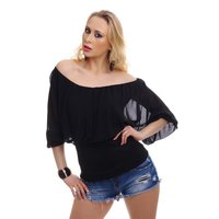 Elegant short-sleeved Carmen shirt with chiffon black...